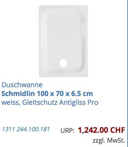 Duschwanne Schmidlin 100 x 70 x 6.5 cm
